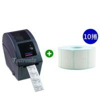 TSC TDP-225 桌上型熱感條碼列印機+熱感標籤紙 35*25mm*1000張/捲【10捲入】