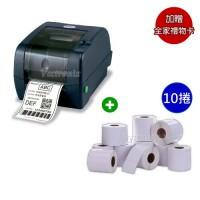 TSC TTP-345 桌上型熱感熱轉條碼標籤列印機+銅版標籤紙 35*25mm*1000張/捲【10捲入】